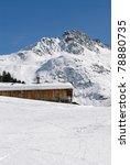 chalet in alps in winter