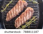 grilled new york steak . food... | Shutterstock . vector #788811187