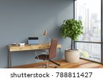 gray home office interior with... | Shutterstock . vector #788811427