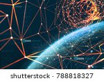 the planet is surrounded by a...   Shutterstock . vector #788818327