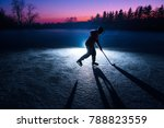 young hockey player silhouette. ... | Shutterstock . vector #788823559