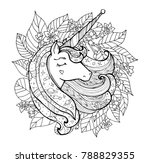 unicorn and flowers. magical... | Shutterstock .eps vector #788829355