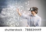 young man playing in vr goggles.... | Shutterstock . vector #788834449