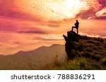 the man stands on a cliff top... | Shutterstock . vector #788836291