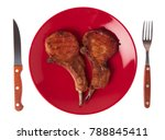 dish of grilled pork ribs with... | Shutterstock . vector #788845411