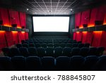 cinema hall with a white screen | Shutterstock . vector #788845807