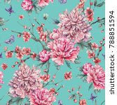 watercolor nature seamless... | Shutterstock . vector #788851594