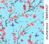 watercolor spring vintage...   Shutterstock . vector #788853427