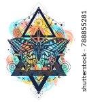 butterfly tattoo  geometrical... | Shutterstock .eps vector #788855281
