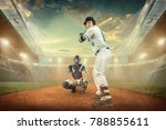baseball players in action on... | Shutterstock . vector #788855611