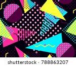 memphis seamless pattern.... | Shutterstock .eps vector #788863207