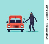 thief steals cars  insurance.... | Shutterstock .eps vector #788865685