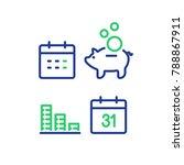 financial calendar line icon ... | Shutterstock .eps vector #788867911
