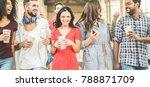 happy millennials friends... | Shutterstock . vector #788871709