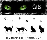 Stock vector black cats eyes and footprints 78887707