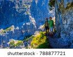family with teenager trekking...   Shutterstock . vector #788877721