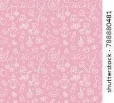 newborn baby shower seamless... | Shutterstock .eps vector #788880481