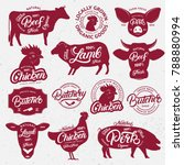 13 butchery logo  label  emblem ... | Shutterstock .eps vector #788880994