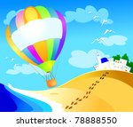 balloon with sign over the sea  ... | Shutterstock .eps vector #78888550