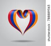 armenian flag heart shaped wavy ...   Shutterstock . vector #788889565