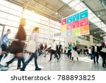blurred people in a modern hall | Shutterstock . vector #788893825