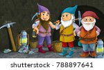 cartoon scene with happy dwarfs ...   Shutterstock . vector #788897641