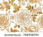 flowers  leaves  branches and... | Shutterstock .eps vector #788908594