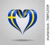 swedish flag heart shaped wavy...   Shutterstock . vector #788912539