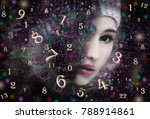woman face and numerology | Shutterstock . vector #788914861