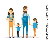 happy family. father  mother ... | Shutterstock .eps vector #788914891