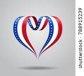 american flag heart shaped wavy ... | Shutterstock . vector #788915239