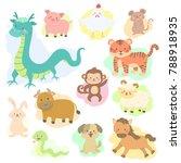 Stock vector chinese new year cute animal zodiac cartoon character vector illustration set 788918935