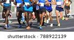 marathon runner legs running on ... | Shutterstock . vector #788922139