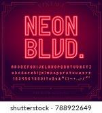 bright neon alphabet letters ... | Shutterstock .eps vector #788922649