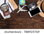 outfit of traveler  travel plan ... | Shutterstock . vector #788925769