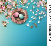 easter holiday background with... | Shutterstock .eps vector #788937685