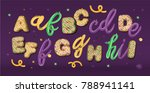 sweet font set with letters a ... | Shutterstock .eps vector #788941141