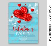 Stock vector valentine s day party invitation red hearts rose goft box wedding card blue background 788949709