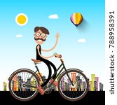 man on bicycle with city on... | Shutterstock .eps vector #788958391
