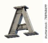 steel beam font 3d rendering... | Shutterstock . vector #788968699