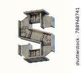Steel Beam Font 3d Rendering...