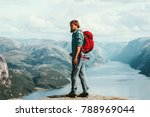 man with backpack hiking travel ... | Shutterstock . vector #788969044