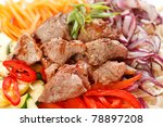 meat with vegetables and noodles | Shutterstock . vector #78897208