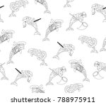 vector seamless dolphin pattern ... | Shutterstock .eps vector #788975911