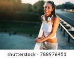 portrait of woman taking break...   Shutterstock . vector #788976451