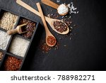 mixed organic raw rice in... | Shutterstock . vector #788982271