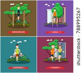 set of training outside posters ... | Shutterstock . vector #788995267