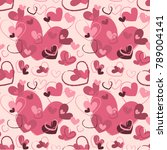 seamless pattern with hearts.... | Shutterstock .eps vector #789004141