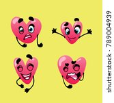 set of emoticons funny heart... | Shutterstock .eps vector #789004939