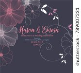cute wedding invitation with... | Shutterstock .eps vector #789007231